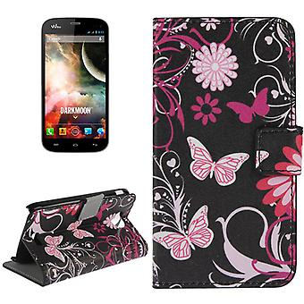 Cover cell phone case (flip cross) for mobile WIKO Darkmoon butterflies
