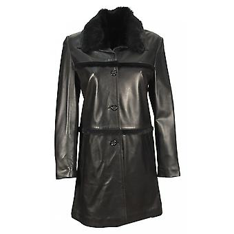 Lenano - Lady coat with Tuscan lamb nappa lambskin collar black leather jacket