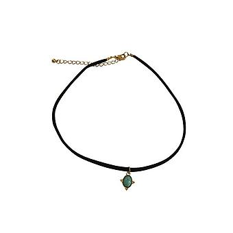 Minimalist statement choker necklace with turquoise stone
