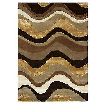 Brown Carved Wave Quality Rug Botanical