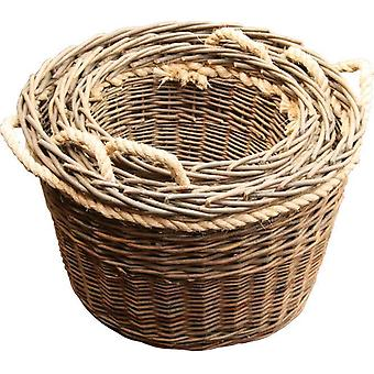 Set of 3 Green Rope Handled Log Baskets