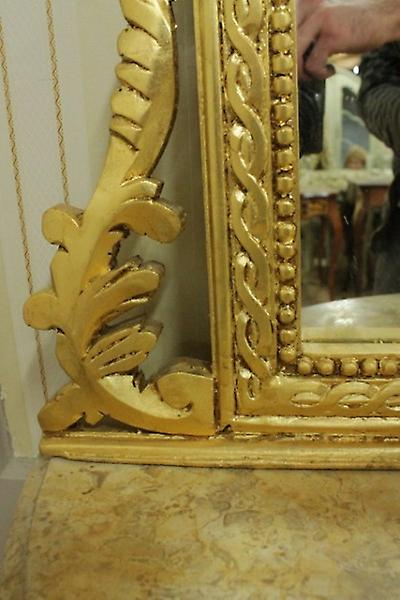 baroque consol antique style with mirror u. marble plate AwKs0181GoBg