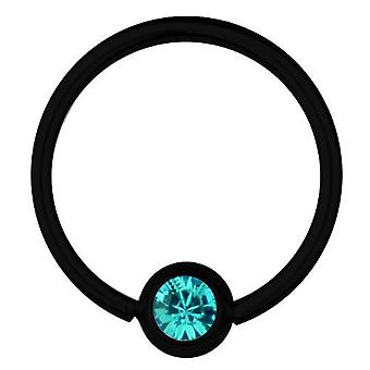 BCR czarny tytan Piercing 1,6 mm, SWAROVSKI ELEMENTS Aquamarine | 8 - 16 mm