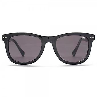 SUUNA Brooklyn Wayfarer Style Sunglasses In Black On Crystal Clear