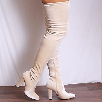 Shoe Closet Velvet  Thigh High Boots - Ladies Sabrina4 Nude Velvet Thigh High Over The Knee Heeled Boots
