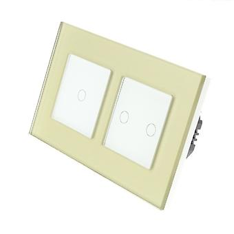 I LumoS Gold Glass Double Frame 3 Gang 1 Way WIFI/4G Remote & Dimmer Touch LED Light Switch White Insert