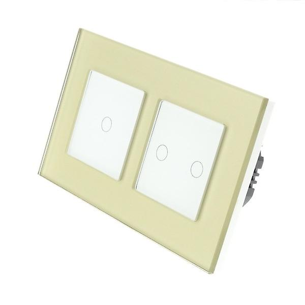 I LumoS or Glass Double Frame 3 Gang 1 Way Remote Touch LED lumière Switch blanc Insert
