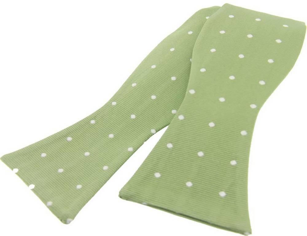 David Van Hagen Polka Dot Silk Self Tie Bow Tie - Pale Green