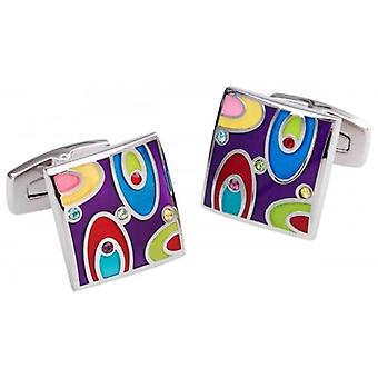Duncan Walton Easton Cufflinks - Purple/Red/Silver