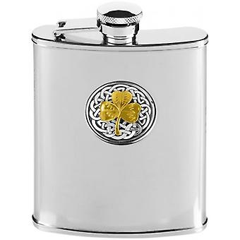 Orton Ouest 6oz en acier inoxydable Sharock celte Hip Flask - Silver