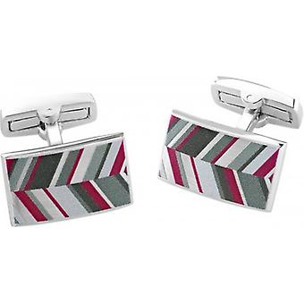 Duncan Walton Russet Luxury Enamel Chevron Cufflinks - Grey