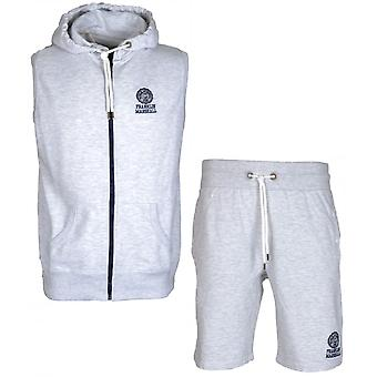 Franklin & Marshall Mf050xn Zip Hooded Light Grey Tracksuit With Shorts