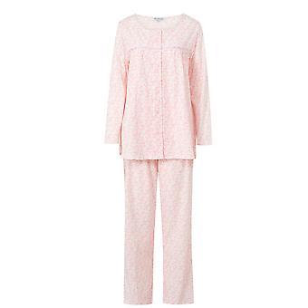 Slenderella rosa redondo cuello manga larga algodón pijama conjunto PJ6104