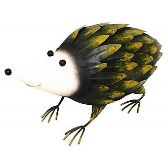 Hand Painted Steel Hedgehog Garden Ornament Decoration Item 32.5cm