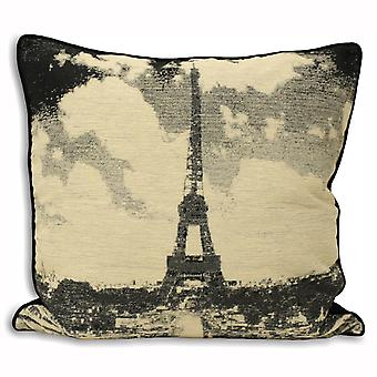 Riva Home Black And White Cities Eiffel Tower Cushion Cover