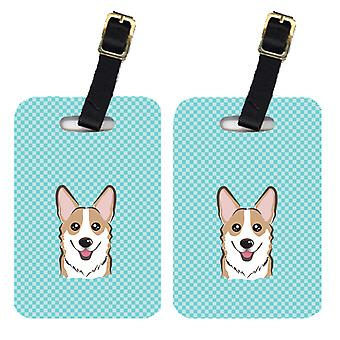 Carolines Treasures  BB1191BT Pair of Checkerboard Blue Corgi Luggage Tags