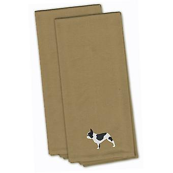 French Bulldog Tan Embroidered Kitchen Towel Set of 2