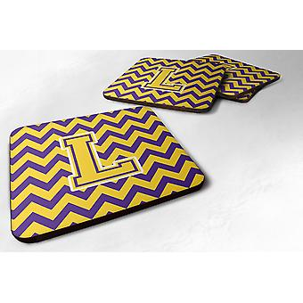 Set of 4 Letter L Chevron Purple and Gold Foam Coasters Set of 4