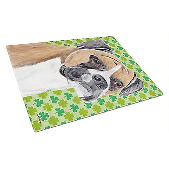 Boxer St. Patrick's Day Shamrock Portrait Glass Cutting Board Large