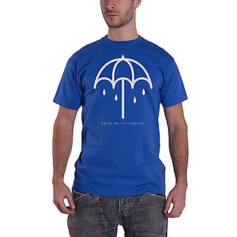 Bring Me The Horizon T Shirt Umbrella band logo Official Blue burnout slim fit