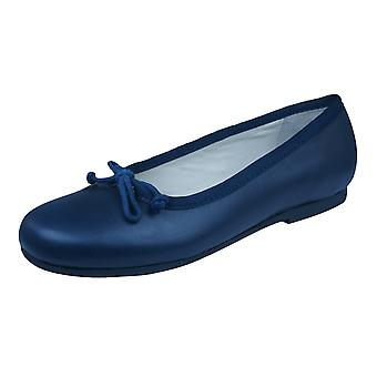 Start Rite Francesca Girls Leather Slip On School Shoes - Navy Blue