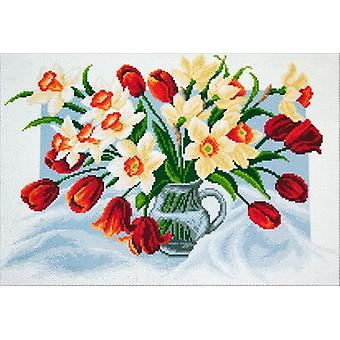Collection D'Art Stamped Cross Stitch Kit 37X49cm-Spring Flowers CDPA1226