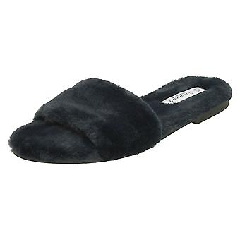 Ladies Savannah Flat All Fur Slider Mules