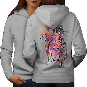 Art Girl Woman Women GreyHoodie Back | Wellcoda