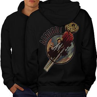 Robot Space Geek Men BlackHoodie Back | Wellcoda
