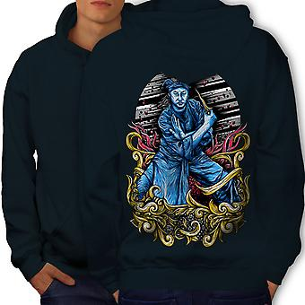 Katana Asia Art Men NavyHoodie Back | Wellcoda