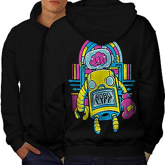 Robo Life Retro Geek Men BlackHoodie Back | Wellcoda