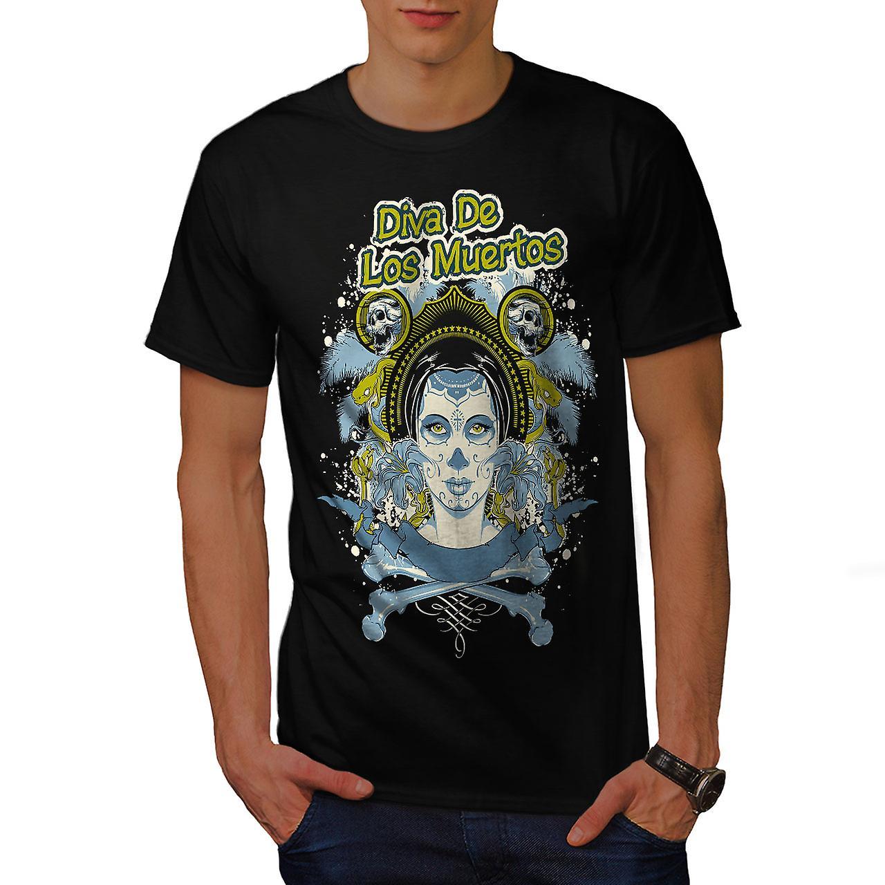 Los Muertos Diva Skull Men Black T-shirt | Wellcoda