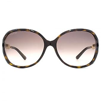 Gucci Cut Out Square Sunglasses In Havana Gold