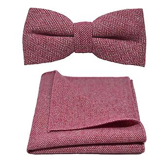 Berry Red Herringbone Bow Tie & Pocket Square Set