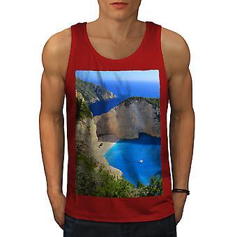 Cliff Ocean Water Men RedTank Top   Wellcoda
