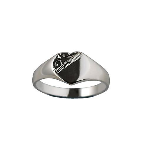 Silver 9x9mm solid hand engraved heart shaped Signet Ring Size K