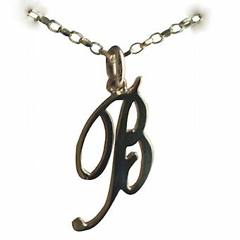 9ct Gold 26x13mm plain Initial B Pendant with a belcher Chain 24 inches