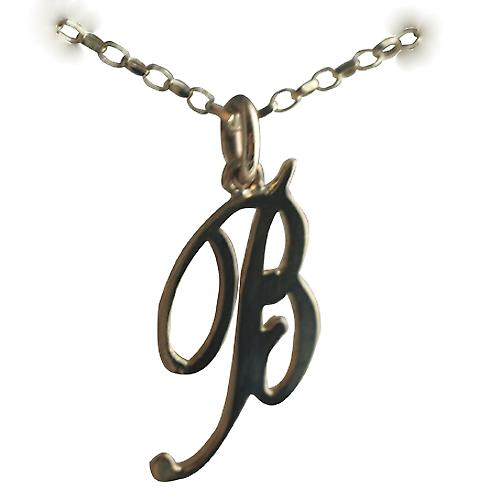 9ct Gold 26x13mm plain Initial B Pendant with a belcher Chain 16 inches Only Suitable for Children