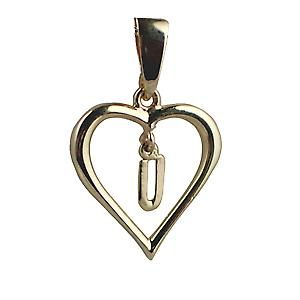 9ct Yellow Gold 18x18mm heart with a hanging Initial U