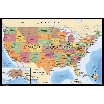 地図 - アメリカ ポスター印刷