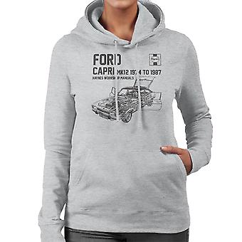 Haynes Owners Workshop Manual 0283 Ford Capri Mk12 Black Women's Hooded Sweatshirt