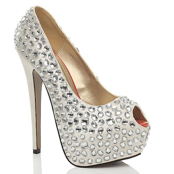 Ajvani womens peep toe platform high heel prom wedding bridal court shoes sandals pumps