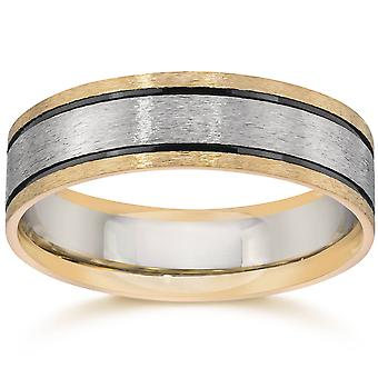Double Inlay Brushed Wedding Band 14K White & Yellow Gold