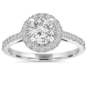 1CT Halo Round Diamond Engagement Ring 14K White Gold