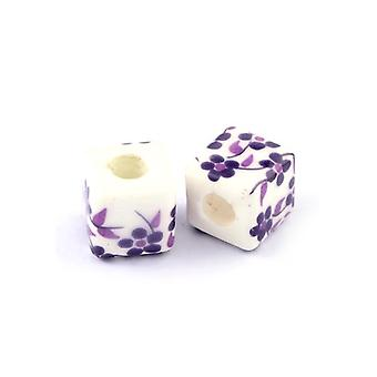Packet 10 x White/Violet Porcelain 10mm Cube Beads HA27225