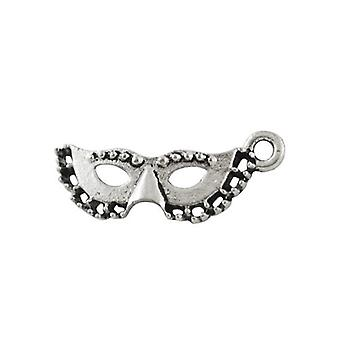 Packet 22 x Antique Silver Tibetan 21mm Masquerade Mask Charm/Pendant ZX01050