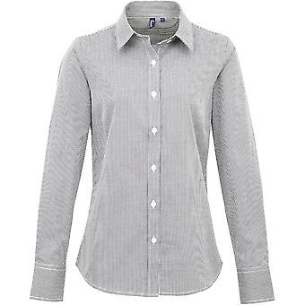 Premier Womens/Ladies Gingham Microcheck Long Sleeve Corporate Shirt