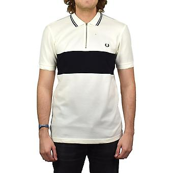 Fred Perry Panelled Zip Neck Pique Polo Shirt (Light Ecru)
