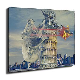 Torre di Pisa Italia divertente parete arte tela 50 x 30 cm | Wellcoda