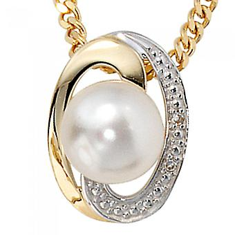 Trailers Prince gold 585 brilliant Freshwater Pearl part rhodium plated